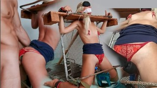 Restrained Beauty Fucked by Sex Machine. Blonde Babe in Bondage