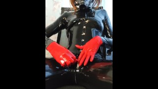 letex girl plays with balls for rubber pussy