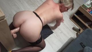 Cuckold Fantasy Wife Footjob Deeptrhroat and Fuck Big Cock in front of Husband
