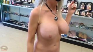 Public Flashing walking through an adult store naked!
