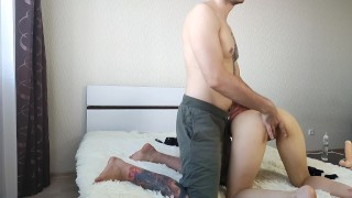 Little Asian showed her ass and gave her dildo to fuck