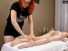 First ever ginger babe Felenk Roka on a massage table oiled