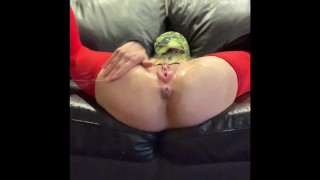 Blonde Babe is Restrained and Makes Herself Squirt! Huge Clit, Pussy Slapping, Bondage!
