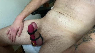 Intense hands-free cumshot using cock ring and vibrator
