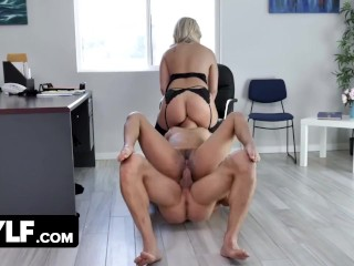 Gorgeous Brunette Gets Dominated And Hardcore Fucked By Big Titted Milf And Her Muscular Boss