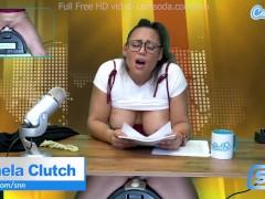 Hot Latina news anchor masturbation on air
