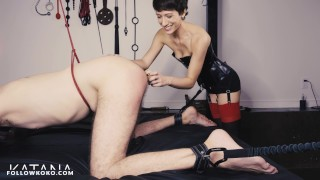 First Figging - PainSlut Male sub bound, beat & figged in 4K