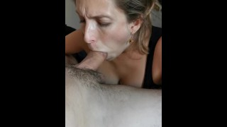 8 months pregnant milf suck and blow a dick, then touches herself until she cums.