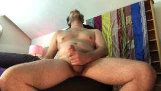 Mature granny BBW rides big cock cowgirl on chair to loud orgasm real amateur couple sex fucking TnD