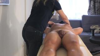 Sensual oil body and cock massage