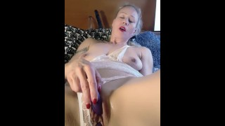 Strong double orgasm, masturbating with vibrating balls and small but very powerful finger vibrator