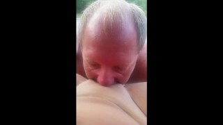fucking, pussy eating with cumshot on tits in back of truck in plublic part 2