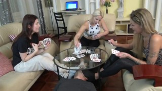 Sock smelling slave while playing cards!