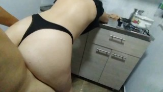 My stepmother is in the kitchen preparing breakfast but I want to fuck her right now