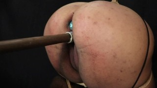 Fucked hard with a dildo while tied up