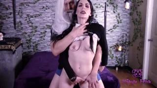 Skyla Pink showing Wednesday Addams how naughty gilrs do it grandpa cumming inside