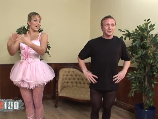 Beautiful dancer in a tutu gets her pussy fucked hard during her dance class