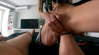 Master Uses His Sloppy Slut For Throat Blowjob And Stretching Her Pussy