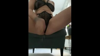 Loud female milf. He masturbates with a glass dildo / squirts a lot, real orgasm / woman in a mask