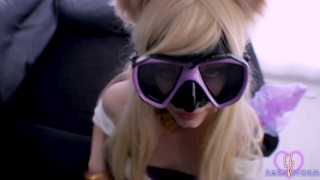 Ahri KDA Hard double penetration and blowjob Swimming goggles