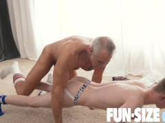 FunSizeBoys - Silver haired muscle daddy breeds tiny gym boy