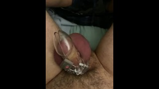 Pathetic dick tried to be hard in cage