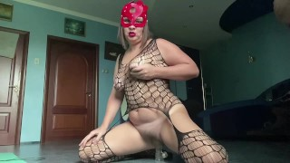 PAWG Milf step mom Dildo ride and beats herself with a whip