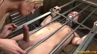 BDSM dominatrix slut teases and jerks dick