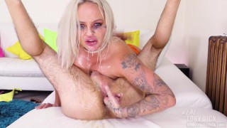 Messy throat wrecking - she fingers and eats my old ass!