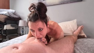 DEEPTHROAT WHORE tries to keep cock down her THROAT for long | GAGGING