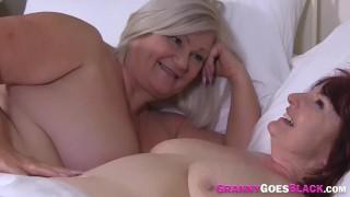 Grannies share black dick in threeway