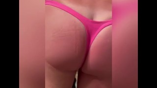 Muscular cuck in hot pink thongs likes it up his ass!