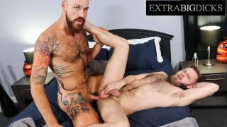 Huge Inked Hunk Gets His Massive Dick Devoured - ExtraBigDicks