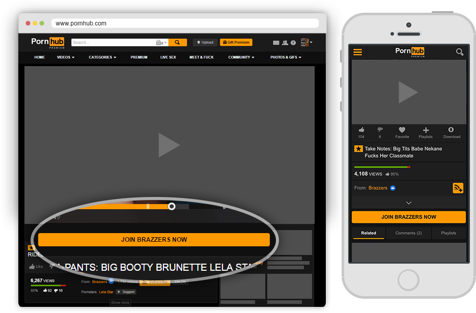 Pornhub Content Partner - Join Button on Video Page