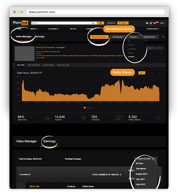 Pornhub Content Partner - Manage your earnings and video stats